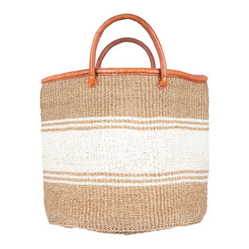 Afya Hand Woven Laundry/Storage Basket - Beige/White Stripe
