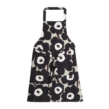 Pieni Unikko Apron - Beige/Dark Grey/Brown