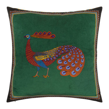 Peacock Garden Cushion - 45x45cm - Dark Green