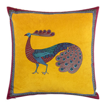 Peacock Garden Cushion - 45x45cm - Yellow