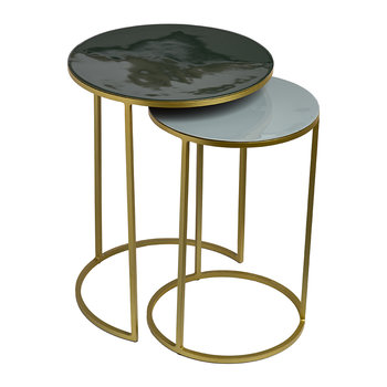 Enamel Side Table - Set of 2 - Green/Grey