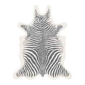 Zebra Collection Vinyl Floor Mat - White/Grey