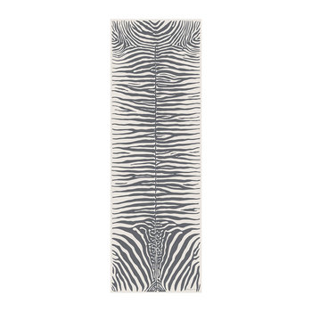 Zebra Rectangular Vinyl Runner - Grey/White - 66x198cm