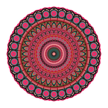 Mandala Round Vinyl Floor Mat - Red Multi