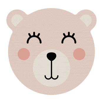 Bear Face Vinyl Placemat - Pink