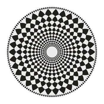 Cyclades Vortex Round Vinyl Floor Mat - Black/White