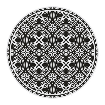 Ceramic Tile Round Vinyl Floor Mat - Black/White
