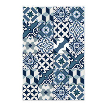 Large Tiles Vinyl Floor Mat - Blue - 99x150cm