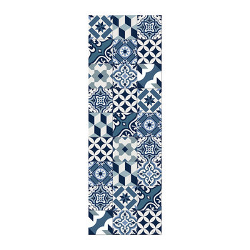 Large Tiles Vinyl Runner - Blue - 66x198cm