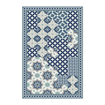 Small Floral Tiles Vinyl Floor Mat - Blue - 99x150cm
