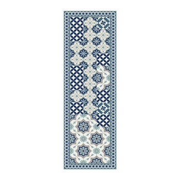 Small Floral Tiles Vinyl Runner - Blue - 66x198cm