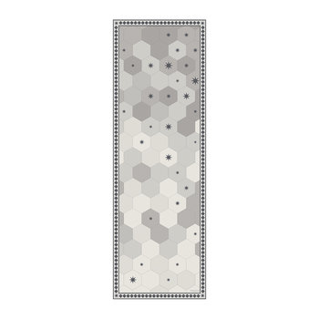 Hexagonal Tiles Vinyl Runner - Grey - 66x198cm