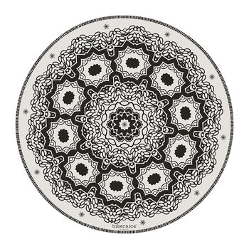 Cyclades Abstract Round Vinyl Placemat - Black/White