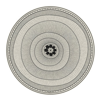 Cyclades Striped Rings Round Vinyl Placemat - Black/White