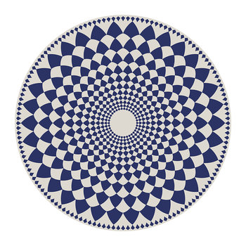 Cyclades Vortex Round Vinyl Placemat - Blue/White