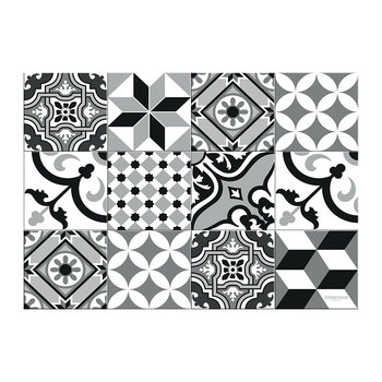 Large Tiles Vinyl Placemat - Black/White - Black/White