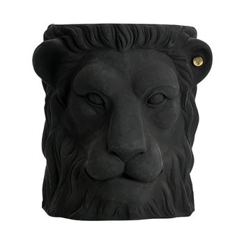 Terracotta Lion Plant Pot - Large - Black