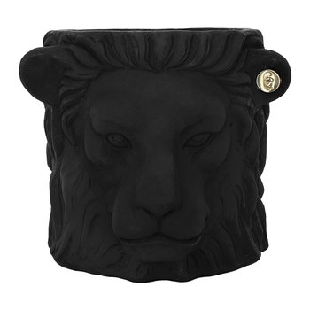 Terracotta Lion Plant Pot - Small - Black