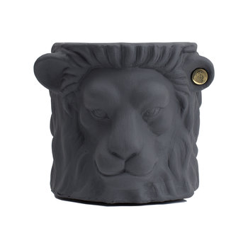 Terracotta Lion Plant Pot - Small - Grey
