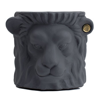 Terracotta Lion Plant Pot - Small - Gray