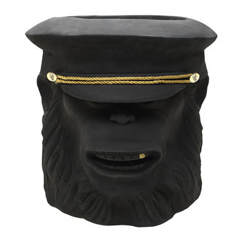 Terracotta Chimpanzee Officer Plant Pot - Black