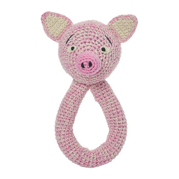 Crochet Bram Pig Ring Rattle - Pink