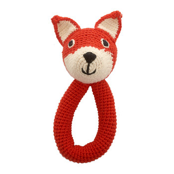 Crochet Fox Ring Rattle - Mandarin