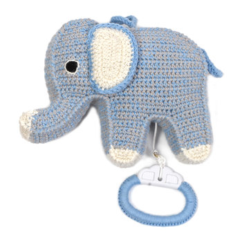Crochet Elephant Musical Toy - Blue/Grey