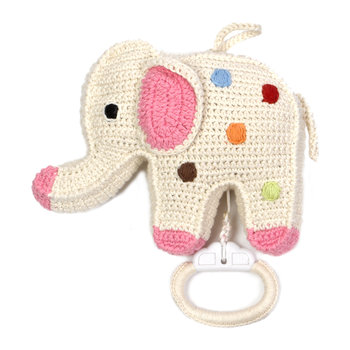 Crochet Elephant Musical Toy - Dotted