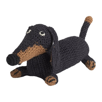 Small Crochet Dachshund - Black/Tan