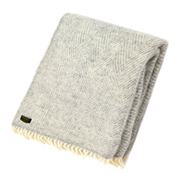Fishbone Wool Throw - Silver Grey
