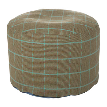 Tweed Pouf - 45x30cm - Green Grey Check/Silver Grey