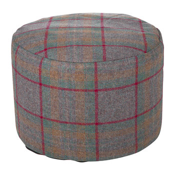 Tweed Pouf - 45x30cm - Country Check/Red