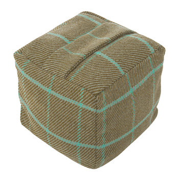 Tweed Cube Door Stop - Olive/Turquoise