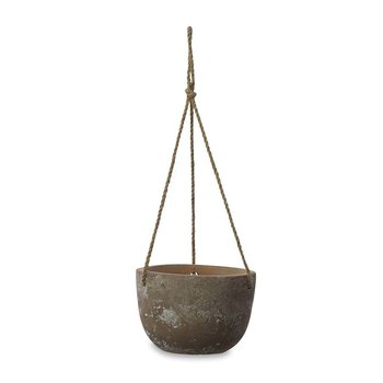 Affiti Hanging Clay Planter - Antique Grey