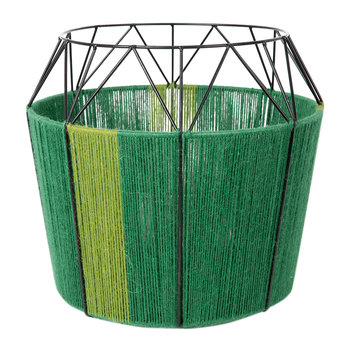 Wide Base Rope Lantern - Green