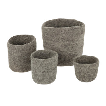 Felt Pots - Set of 4 - Grey