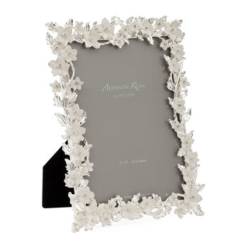 Silver Leaf & Cream Flower Enamel Photo Frame