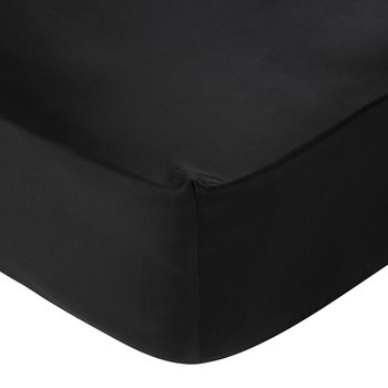 Egyptian Cotton Sateen Fitted Sheet - Black