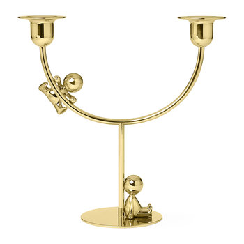 Omini Brass Double Candle Holder - The Lazy Climber