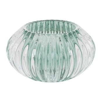 Fluted Glass Tealight Holder - Turquoise
