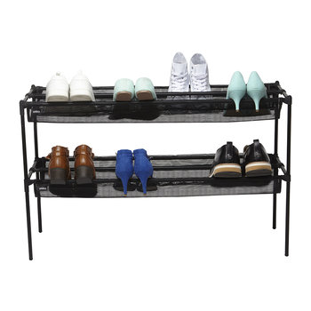 Sling Two Tier Shoe Rack - Black