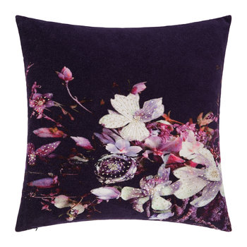 Dark Floral Velvet Pillow - 45x45cm