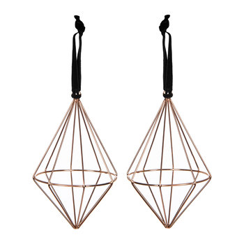 Set of 2 Diamond Wire Tree Decorations - Copper
