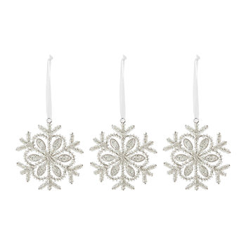 Set of 3 Snowflake Tree Decorations - Silver