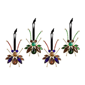 Set of 4 Insect Jewel Tree Decorations