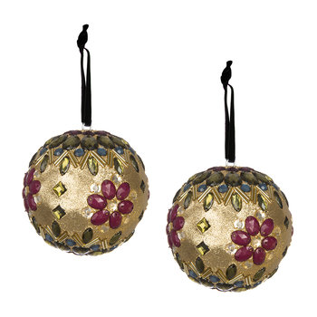 Set of 2 Embellished Tree Decorations - Gold