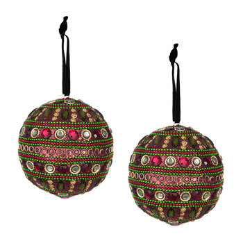 Set of 2 Embellished Tree Decorations - Garnet