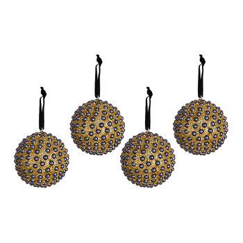 Set of 4 Embellished Tree Decorations - Blue
