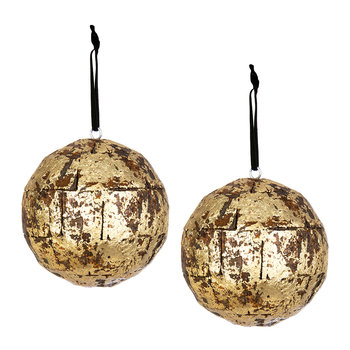 Set of 2 Gold Bark Tree Decorations